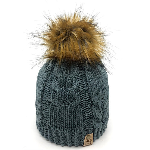 Greyish Green Winding Rivers Beanie with Golden Brown Faux Fur Pom Pom