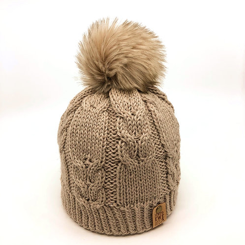 Sparking Taupe Winding Rivers Beanie with Husky Faux Fur Pom Pom