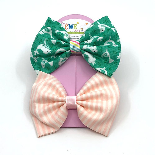 2 Pk of Birds & Stripes Fabric Medium Hair Bow Clips