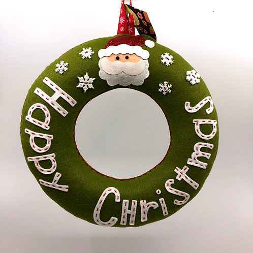 Mossy Green Happy Christmas Wreath with Santa