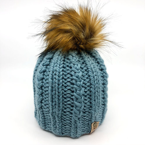 Soft Teal Melrose Beanie with Mid Brown Faux Fur Pom Pom