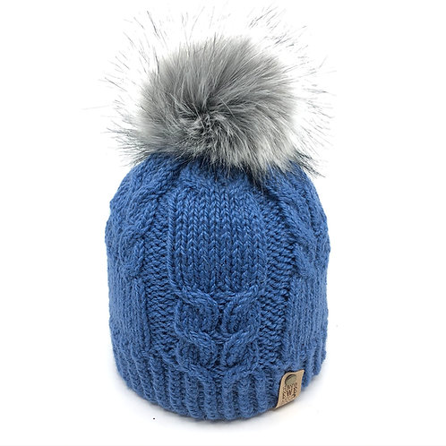 Mid Blue Winding Rivers Beanie with Mid Grey Faux Fur Pom Pom