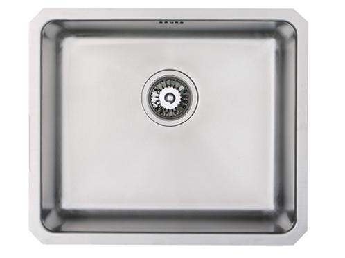 SC 002 undermount 25mm radius large kitchen sink in brushed steel finish.