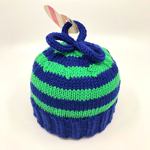 Navy and Grass Green Striped Hat