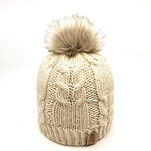 Soft Cream Winding Rivers Beanie with Dark Cream Faux Fur Pom Pom
