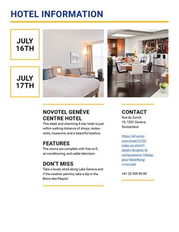 tdf trip packet hotel info
