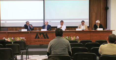Participaron en la inauguración del Coloquio Los Sistemas de Información de las Bibliotecas de la UAM en la era digital.   Foto: Archivo UAM-DCS / Alejandro Juárez Gallardo.