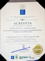 Acreditación de la Licenciatura en Arquitectura de la Unidad Azcapotzalco.
