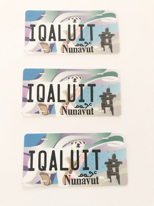 Set of 3 Iqaluit Licence Plate Stickers