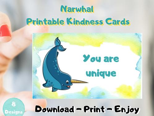 Narwhal Kindness Card -Printable