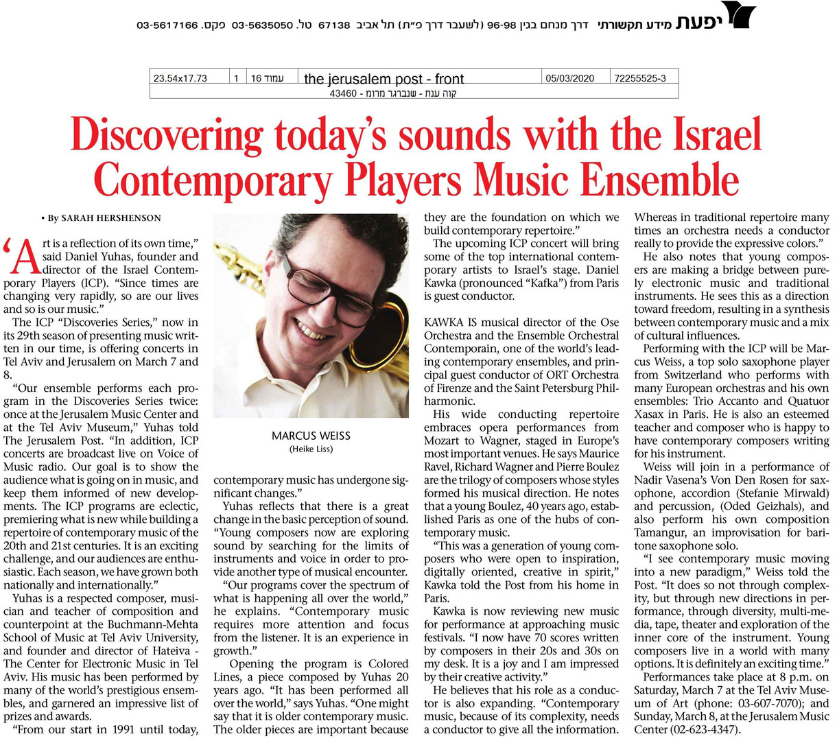 Discovering Today's Sounds with Israel Contemporary Players Music Ensemble
