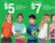 Foto com fundo verde com 5 meninas e meninos vestindo roupas coloridas, entre eles um menino louro com sindrome de down, uma menina morena, um menino orienal, uma menina loura e ouma menina oriental. o preco das camisetas de 5 e 7 dolares aparece em letras brancas, grandes.