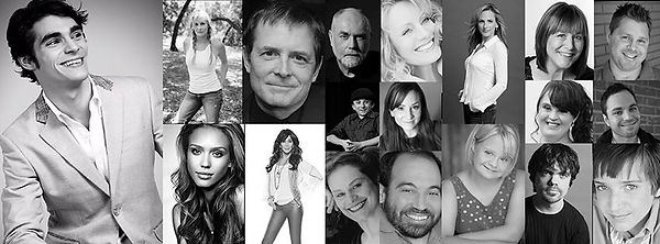 Mosaic of black and white pictures of various actressesand actors with disabilities.