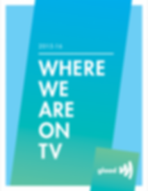 On a blue degradee to green backgound, with white letters - 2015-16 - Where we are on TV - Gllad - logo of a estilized megaphone.
