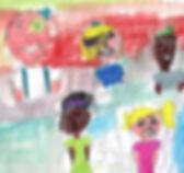 Desenho infantil, um homem, um menino e três meninas.