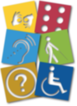 Quadrados coloridos com imagens dos símbolos das deficiência vazados