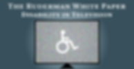 """On a gray background, an out of tune tv screen with the disability symbol (wheenchair). In white letters, on the top, """"The Ruderman White Paper Disability in Television."""