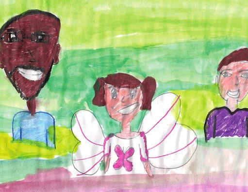 desenho infantil mostrando dois homens e uma menina no meio, todos sorrindo.