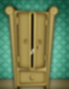 ilustração de armário de madeira, sobre fundo de papel de parede verde, mostrando a porta entreaberta e duas cabecinhas com olhinhos olhando para fora.