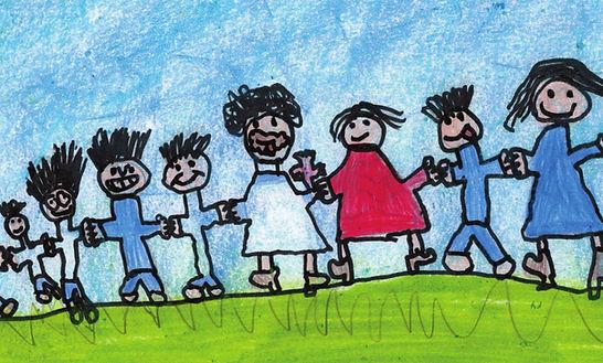 DESENHO INFANTIL COM GRUPO DE 8 PESSOAS.