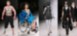 Collage of 4 pictures of models on the catwalk: a man model with a leg prothesis, wearing black trousers, and a painting on his naked torso; a woman in a wheelchair wearing a blue chinese-like blue robe; a woman with a half amputated arm, painted in silver and wearing a black dress and a mask; a woman on a black outfit, with painted black stripe on her eyes, using a crutch.