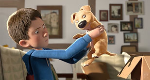 Animation - Boy holds dog from a cardboard box looking intrigately at the dog's lack of leg.