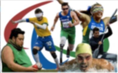 Atletas representando modalidades dos jogos paralimpicos. da esquerda para direita - lançamento, futebol vendado, corrida, canoagem e natação
