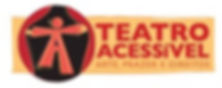 Logo da campanha amarelo com letras vermelhas escrito teatro acessivel, arte, prazer e direitos, um boneco em vermelho formado pela letra A aparece em uma boca de cena abrindo as cortinas.