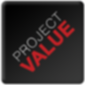 black background, project value written with an inclination, in white and red.