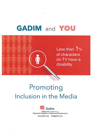 """gadin's booklet cover - gadim and you - image of magniying glass showing one white figure among many others. """"less than 1% of characters on TV have a disability. Promoting Inclusion in the Media. Gadim's logo."""