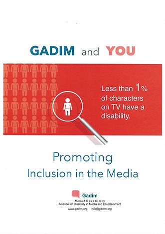 "gadin's booklet cover - gadim and you - image of magniying glass showing one white figure among many others. ""less than 1% of characters on TV have a disability. Promoting Inclusion in the Media. Gadim's logo."