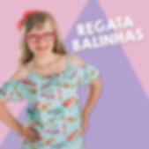 Menina de oculos e arco vermelho, com blusa azul estampada, sob fundo rosa e lilas. titulo - regata de balinhas.