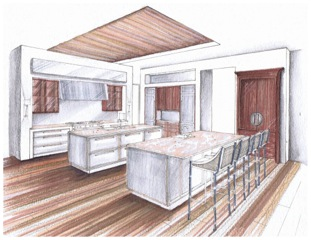 Kitchen layout and design sketch