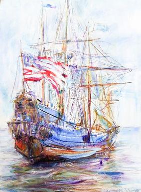 Tall Ship with Flag II