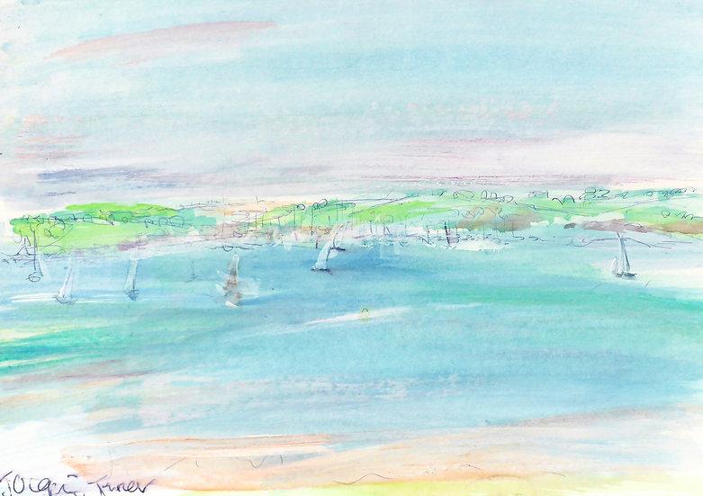 sketch - Mylor Marina from Roseland Peninsular