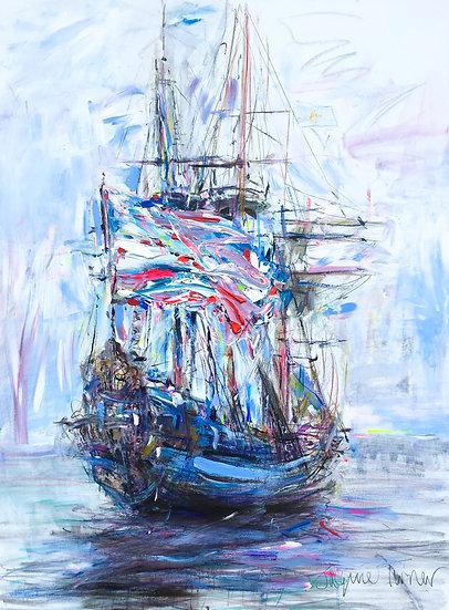 Tall Ship IV with Flag