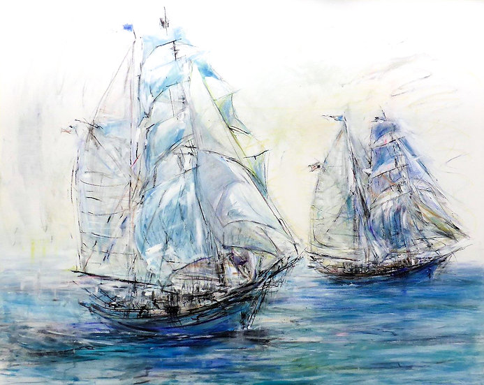 Two Tall Ships (Charcoal)