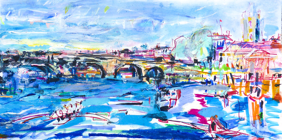 Henley-upon-Thames Bridge with Rowers