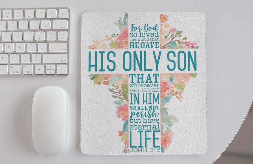John 3:16 Cross - Mouse Pads