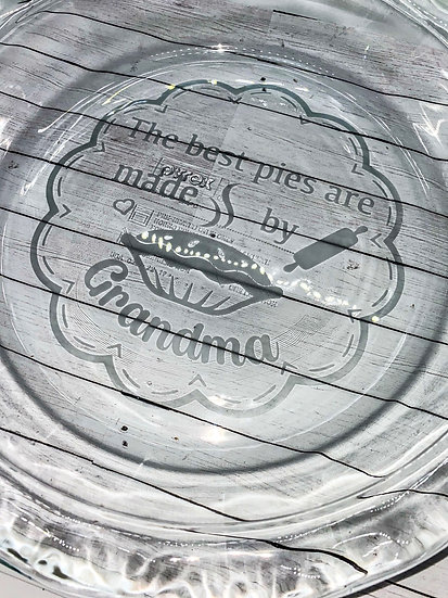 Personalized (Glass Etched) Pyrex Pie Pan