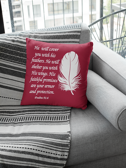 He Will Cover You With His Feathers - Psalm 91:4 - Throw Pillows
