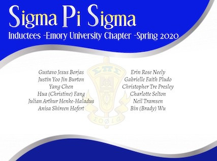 Emory Undergraduates Inducted into Sigma Pi Sigma, Physics Honor Society