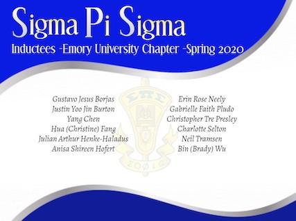 Emory Undergraduates Inducted into Sigma Pi Sigma, Physics Honor Society