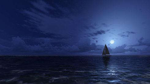 Navigation nuit en mer, bateau, catamaran, pleine lune