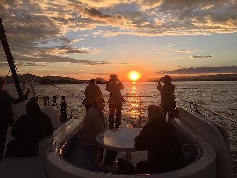 Soirée dîner à bord du catamaran Ninah II, coucher de soleil en mer