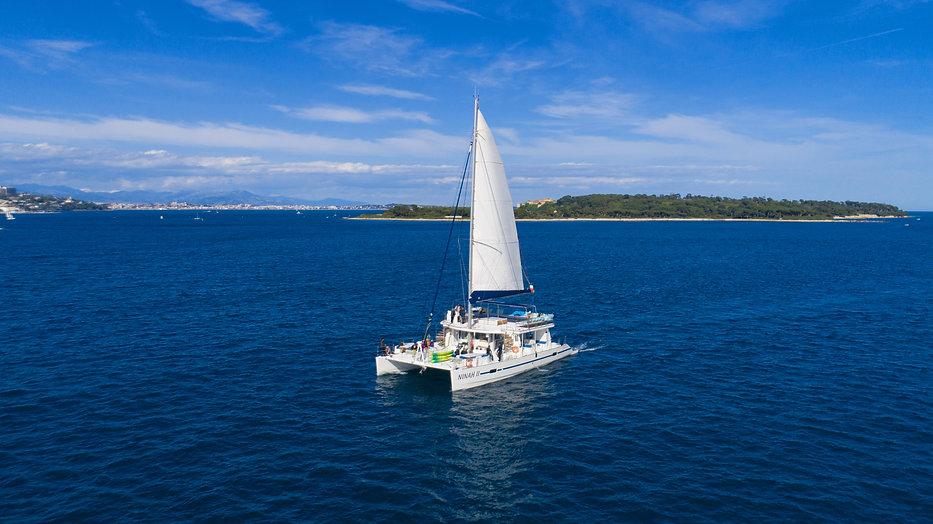 Catamaran bateau voile Ninah II sortie en mer AMC CAPE GRACE