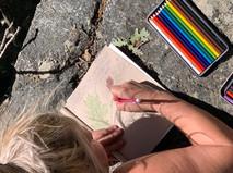 Summer Intern Pia journaling the Black Oak Leaves.