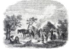 Tejon Indian Village Woodcut 1853 by Les