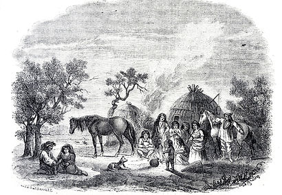 Tejon Indian Village Woodcut 1853 by Les