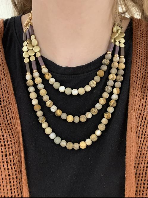 Layered Stone Necklace Set